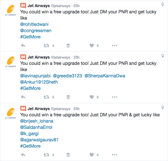 Jet Airways GetMore Free Business Class Upgrades Winners