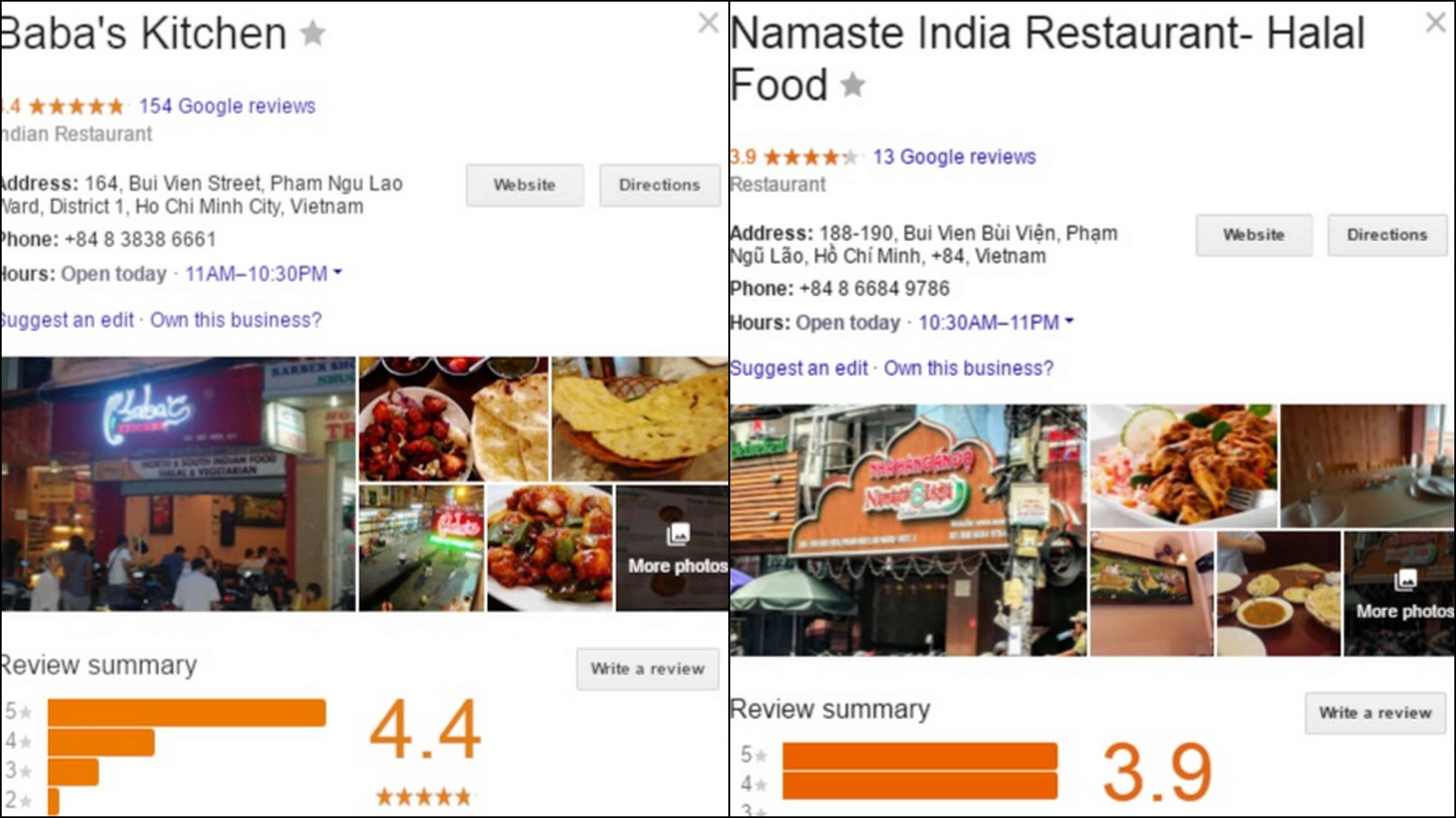 Indian Restaurants in Backpackers street