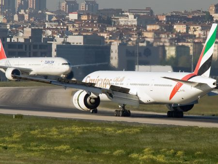 Here's Emirates and Turkish Airlines' electronics handling service in action