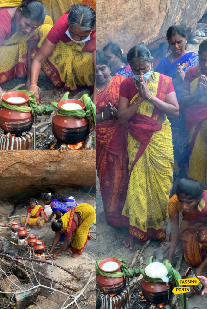 Boiling of the milk during Pongal